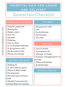 hospital bag checklist for labor and delivery