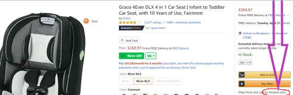 Screenshot showing car seat on Amazon. Baby registry items shipped and sold by amazon are eligible for completion discount