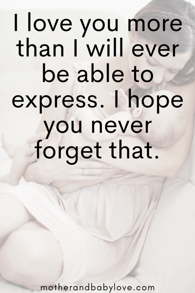 """I love you more..."" quote graphic. Motherhood quotes for first time parents for use in memory books and more"