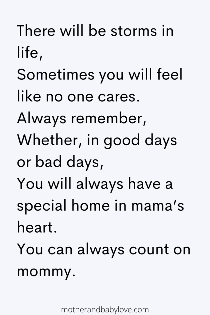 There will be storms in life... You can always count on mommy quote
