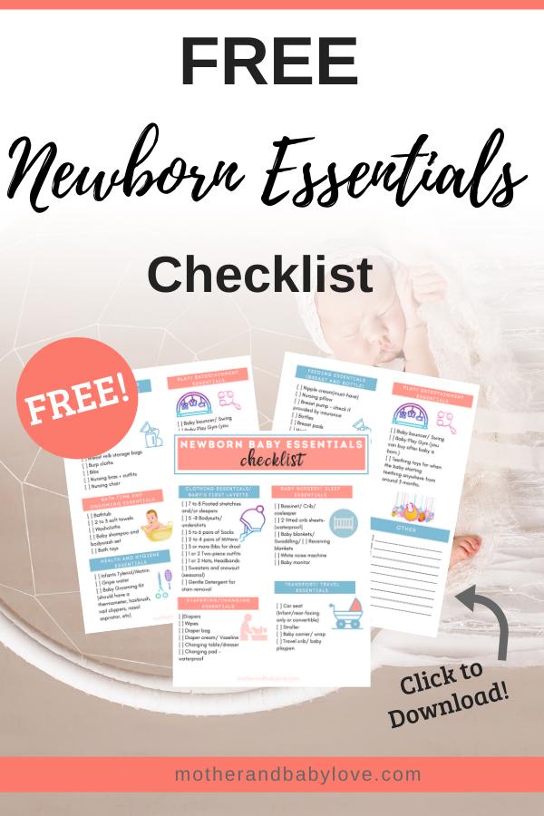 Free Newborn Essentials checklist printable.