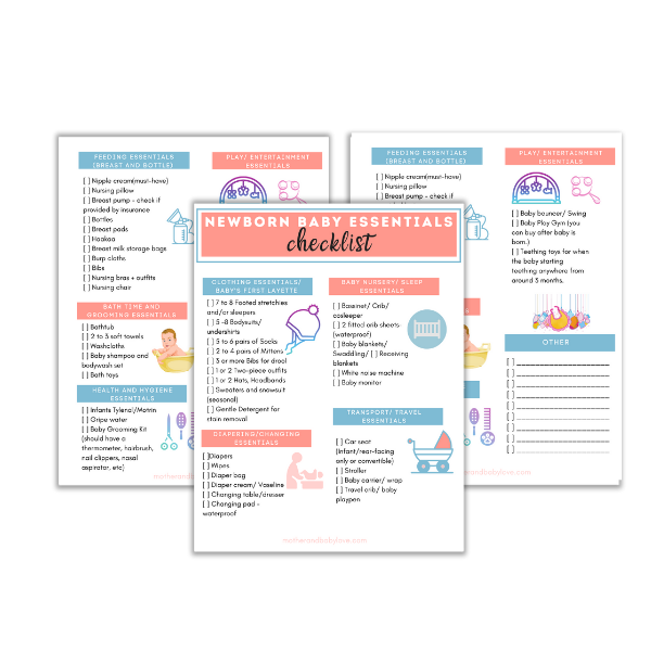 Newborn baby essentials checklist printable download mockup