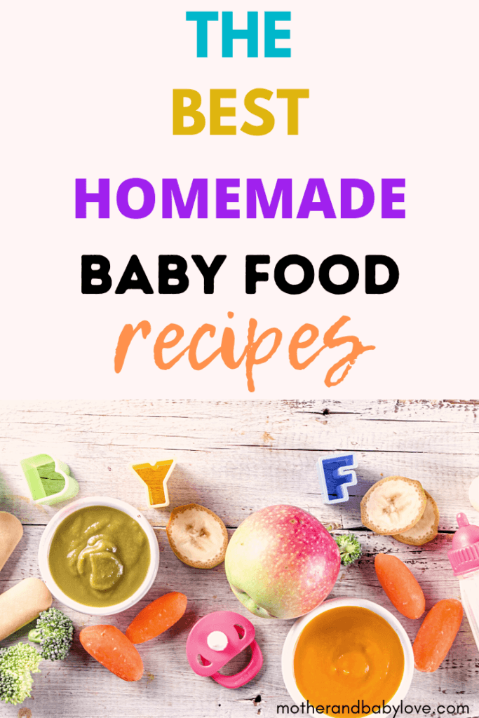 best homemade baby food recipes graphic with apple puree