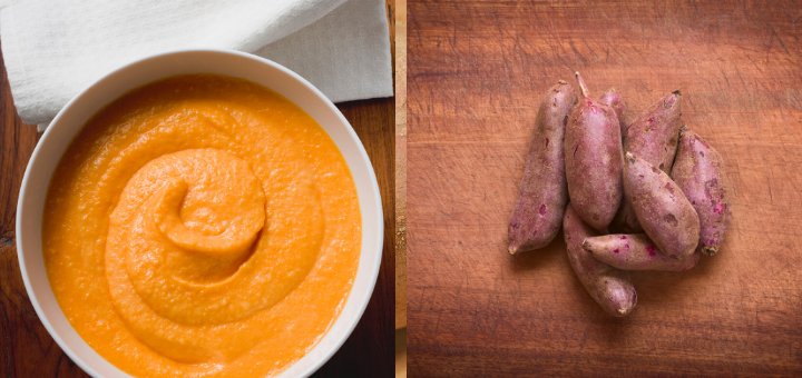 Sweet potato puree in a white bowl and sweet potatoes/ yams on a chopping board