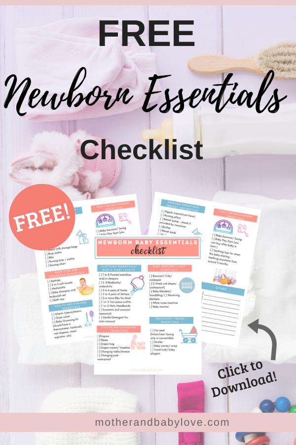 free newborn baby essentials checklist printable- download