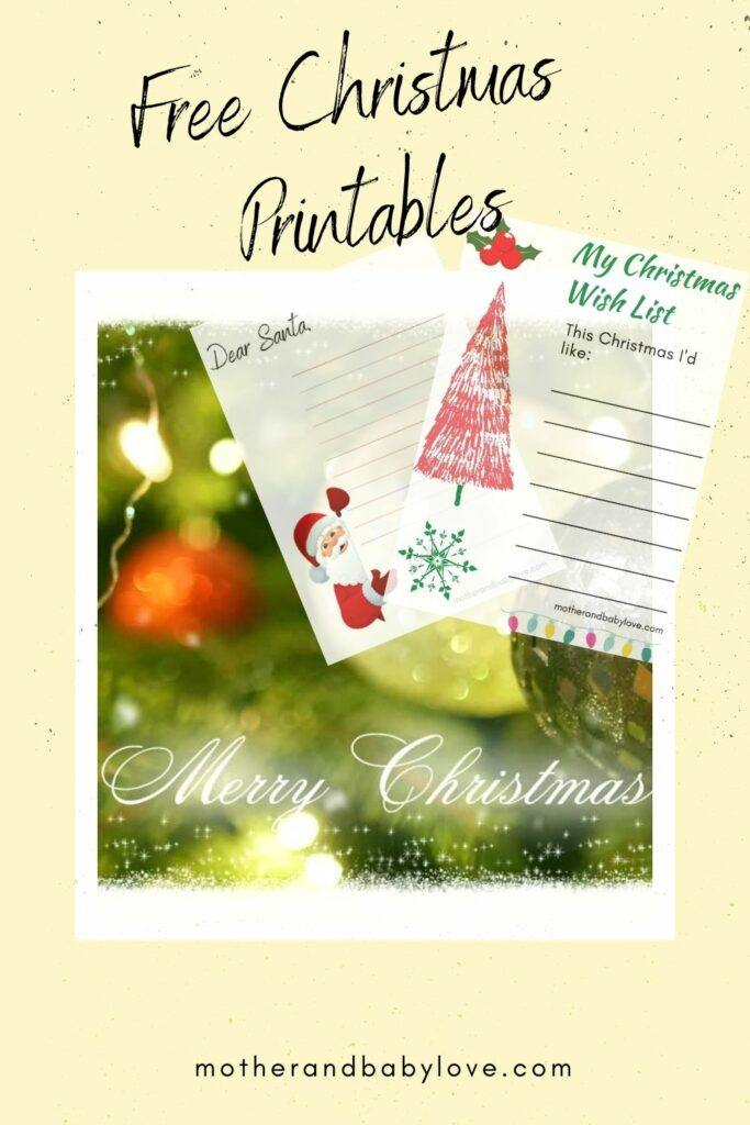 Free printable- Christmas letter to Santa and Wish List