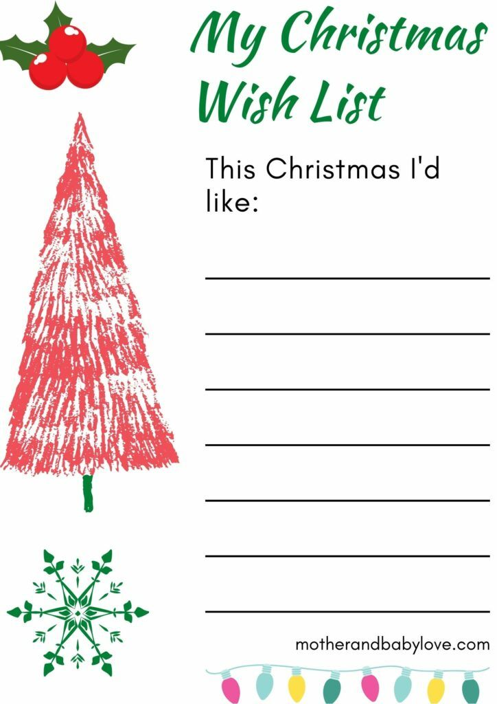 Christmas wish list and letter to Santa free printables