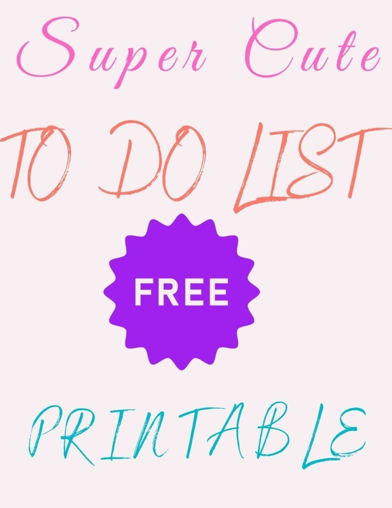 Super cute to do list printable (colorful to do list free printable and black and white daily to do list printable)