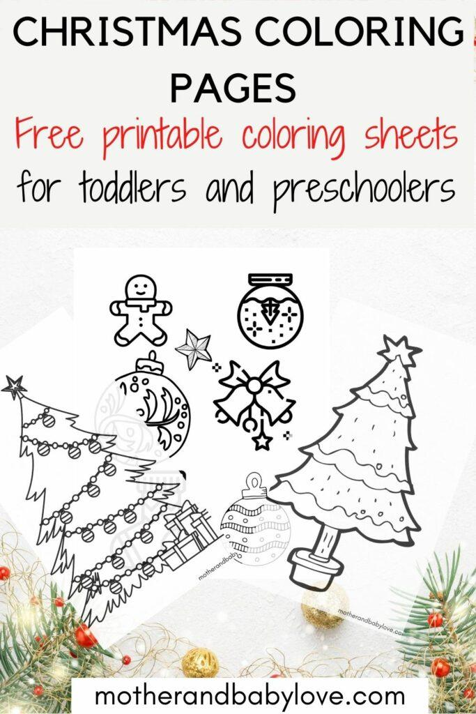 Christmas printable coloring pages.  Free printable coloring sheets for toddlers and preschoolers