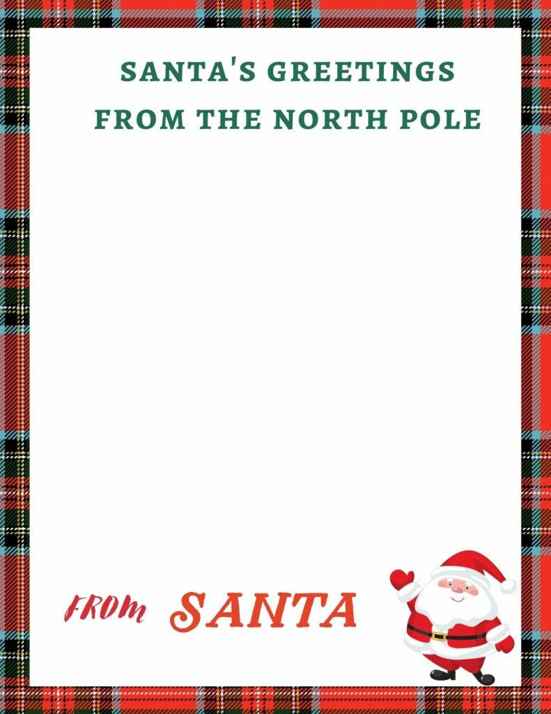 Beautiful plaid blank letter from Santa printable. with Santa's greetings from the north pole.