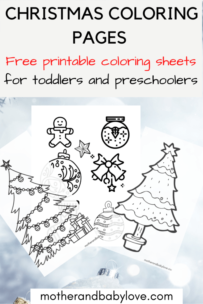 Christmas Coloring Pages - free printable coloring sheets for toddlers and preschoolers. PDF available.