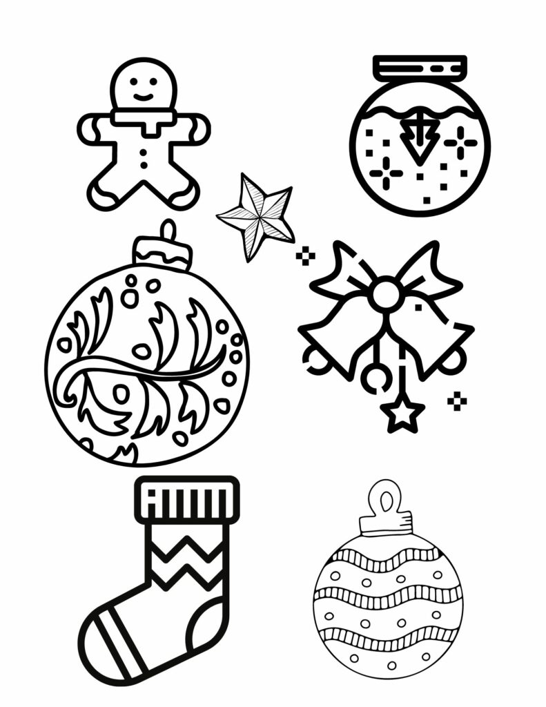 Colouring sheet with Christmas tree ornaments, lights, bells, sock, snow man, snow flakes and candy canes