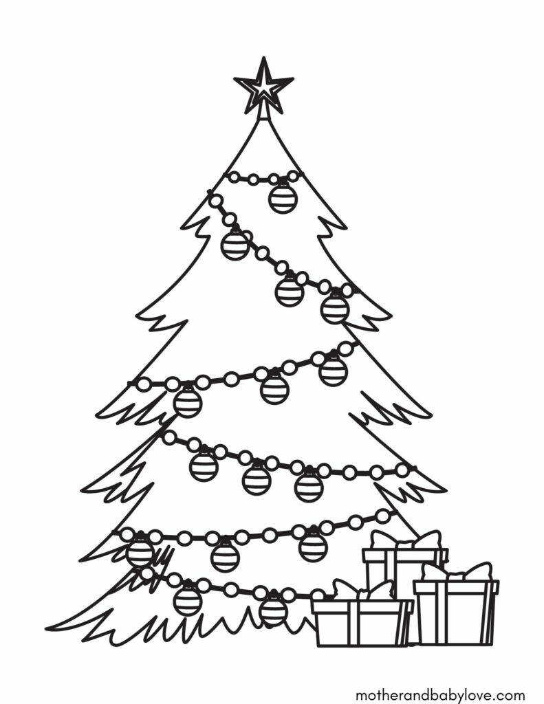 Free Christmas printable coloring sheet- Christmas tree with decorations and gift boxes