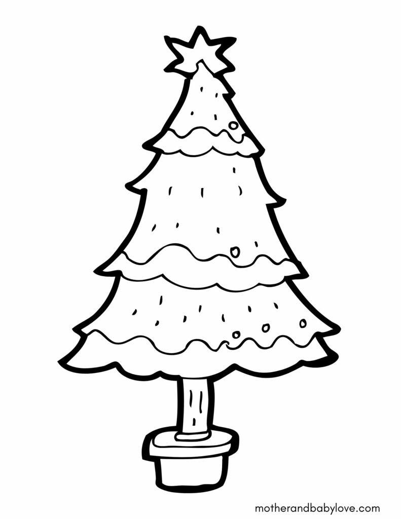Christmas printable coloring sheet for kids (preschoolers and toddlers)- Christmas tree
