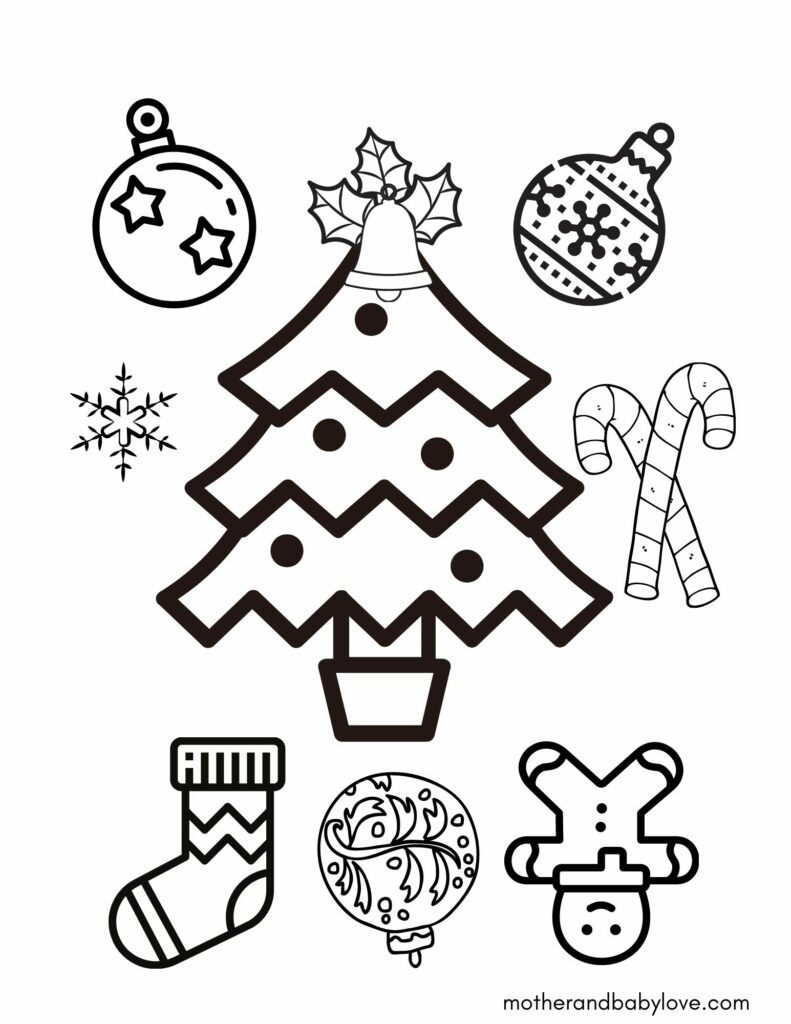 Christmas coloring pages printable with a christmas tree, Christmas tree ornaments, lights, bells, sock, snow flakes and candy canes